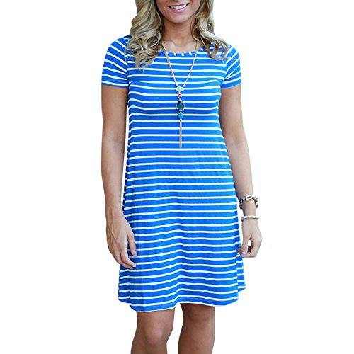 Top Dynen Women's Crew Neck Short Sleeve Striped Loose Tunic Swing T-Shirt Dress free shipping