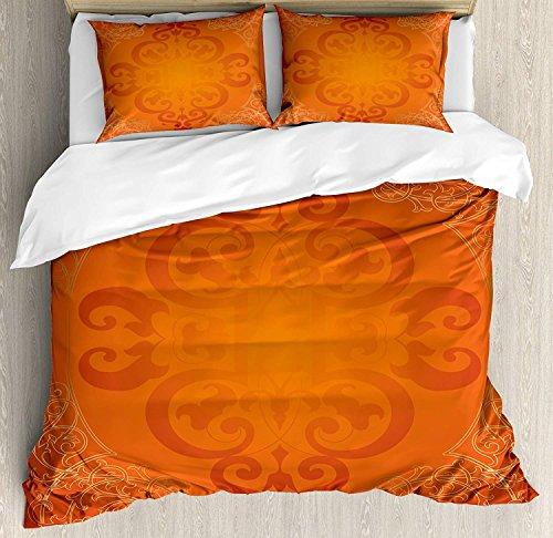 (Orange 4 Piece Bedding Set Queen Size, Royal Antique Motifs with Victorian Swirls Vintage Traditional Revival Framework, Duvet Cover Set Quilt Bedspread for Childrens/Kids/Teens/Adults, Orange Gold)