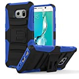 Galaxy S6 Edge+ Case, MoKo Shock Absorbing Hard Cover Ultra Protective Heavy Duty Case with Holster Belt Clip + Built-in Kickstand for Samsung Galaxy S6 Edge+ (Plus) 5.7 Inch - Blue