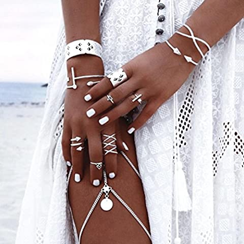 Hunputa 6pcs/Set Women Bohemian Vintage Silver Plated Stack Rings Above Knuckle Rings Set Boho (Boho Rings Silver)