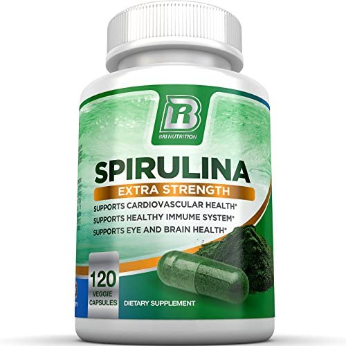 BRI Spirulina 2000mg Maximum Strength Premium Quality Spirulina Superfood Powder, Packed w Antioxidants, Protein and Vitamins in Easy to Swallow Vegetable Cellulose Capsules 120 Count