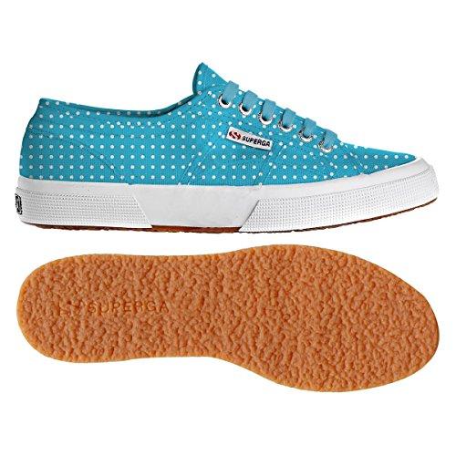 Superga - Zapatillas de deporte de lona para mujer Pois Turquoise-White
