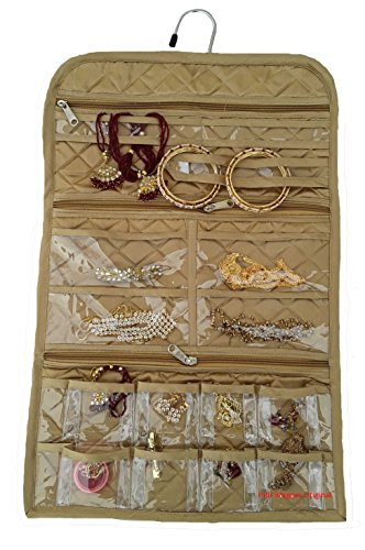 Indi Bargain Golden Satin Cosmetic, Multipurpose Hanging Jewellery Organizer