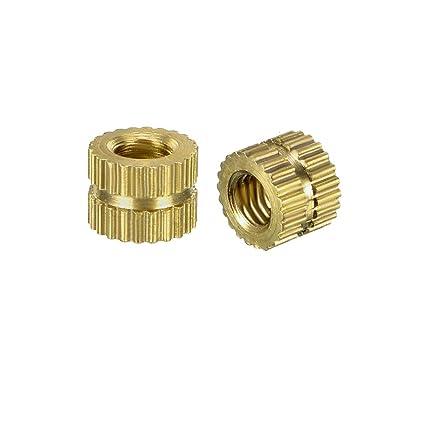 OD Pack of 80 uxcell Knurled Threaded Insert Female Thread Brass Embedment Nuts M3 x 4mm L x 5.4mm
