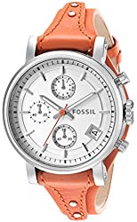 Fossil Women's ES3768 Original Boyfriend Stainless Steel Watch with Leather Band
