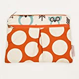 Logan + Lenora Wet + Dry Diaper Clutch - Carry Wipes, Diapers, Creams, Cloth Pads, Breast Pads, or Toiletries - Small Cloth Diaper Wet Bag with Dry Pocket - Made in USA - Waterproof (Earthy Owls)