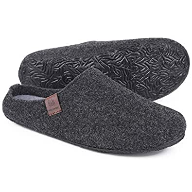 MERRIMAC Men's Fuzzy Faux Wool Felt Slippers Indoor Outdoor Anti-Skid House Shoes with Soft Moveable Insole 11 D(M) US, Dark Gray