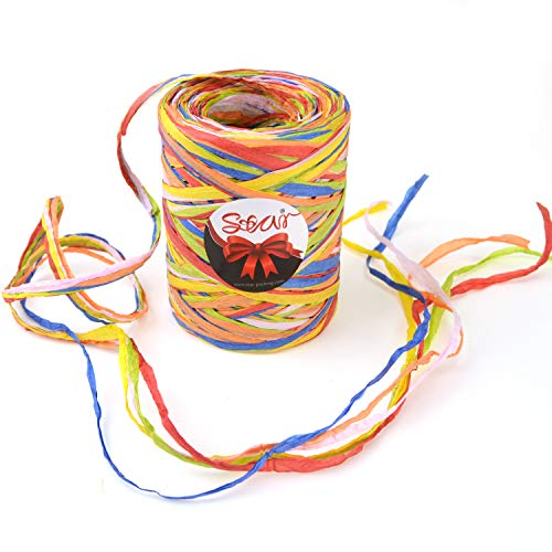 Star Quality Paper Twine 85 Yards   Matte Paper Birthday Ribbon for Gift Wrap, Wine Bottle Decoration 3/16 Inch Width Raffia Paper Yarn for Birthday, Christmas, Craft and Party (Paper Ribbon)