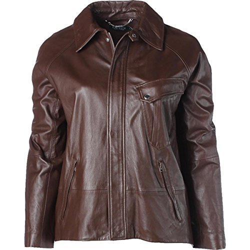 RALPH LAUREN Womens Leather Collared Jacket Brown - Ralph Lauren Cheap