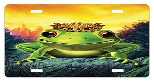 Ambesonne Animal License Plate, Frog Prince with Golden Yellow Crown on Rocks Fairytale Soul Mates Illustration, High Gloss Aluminum Novelty Plate, 5.88 L X 11.88 W Inches, Green ()