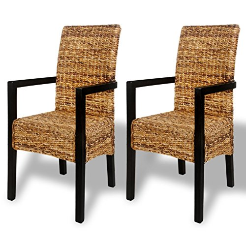 Festnight Set of 2 Abaca Weave Dining Chairs with Armrests Handwoven High Back Wooden Frame Side Chair Kitchen Dining Room Home Bistro Furniture 21.3