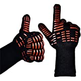 """TTLIFE BBQ Grilling Cooking Gloves - 932°F Extreme Heat Resistant Gloves - 1 Pair (Long with Wide Thumb) - 13.39"""" Long and 1.39'' Wide(Thumb) - for Extra Forearm Protection"""