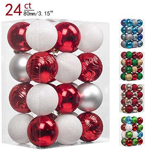 Teresa's Collections 24ct 80mm Traditional Red and White Shatterproof Christmas Ball Ornaments Decoration,Themed with Tree Skirt(Not Included) -