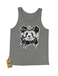Expression Tees Panda With Crown Black & White Jersey Tank Top for Men