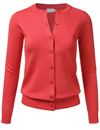 FLORIA Women's Gem Button Crew Neck Long Sleeve Soft Knit Cardigan Sweater Coral 1XL
