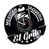 VONAVIroom El Grito Mexican Taqueria Vinyl Wall Clock Great Gift for Men, Women, Kids, Girls and Boys, Birthday, Christmas Beautiful Home Decor - Unique Design