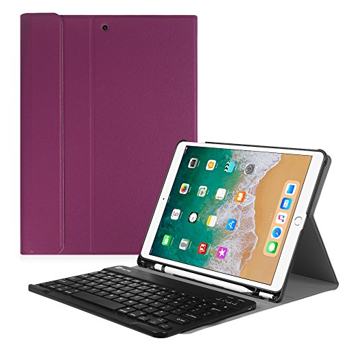 Fintie iPad Pro 10.5 Keyboard Case with Built-in Apple Pencil Holder - SlimShell Protective Cover with Magnetically Detachable Wireless Bluetooth Keyboard for Apple iPad Pro 10.5 inch, Purple by Fintie