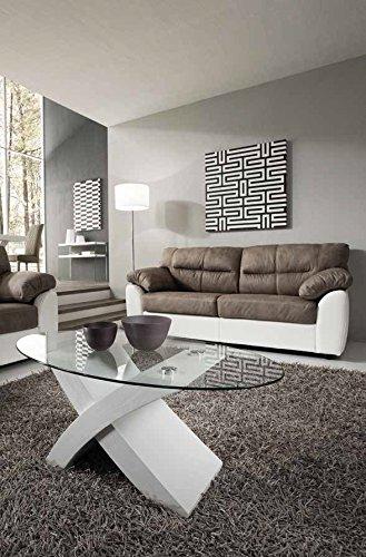 Tito Tavolino da salotto in legno e cristallo ovale soggiorno design ...