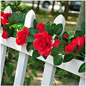 cn-Knight 2pcs 7.4FT Artificial Rose Vine with 16pcs Silk Rose Flowers Green Leaf Hanging Ivy for Home Décor Wedding Hotel Fence Arch Patio Restaurant Party Garden Garland Wreath Prop(Red) 50