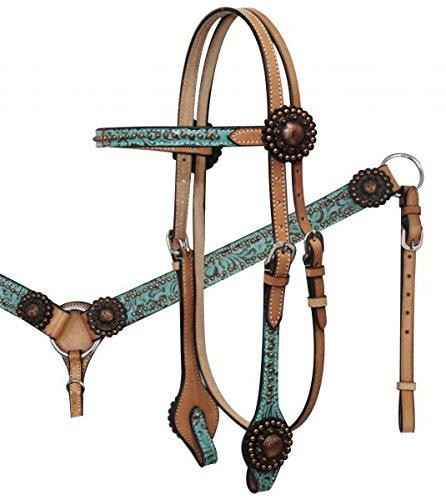 (Showman Light Leather Horse Teal Filigree Bridle, Split Reins, and Breast Collar Set with Copper Studs and Accents.)