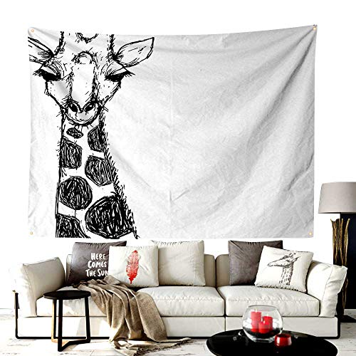 UNOSEKS-Home Custom Made San Diego Tapestry,Cute Graphic of Safari Giraffe with His Tall Neck and Spots West African Wild,Printed Tapestry for Office Decoration,60W X 40L Inches Black -