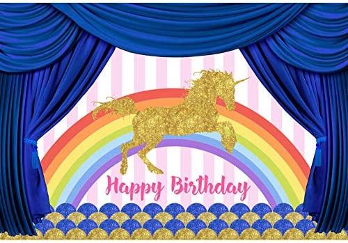 Cassisy 2,2x1,5m Vinilo Unicornio Telon de Fondo Feliz cumpleaños Bandera Escenario Rayas Cortina Azul Arcoiris Fondos para Fotografia Party bebé ...