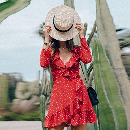 Décontractée D'été Pour Manches V Lotus Robe À Feuille En Femme Longues Mini Bretelles Soirée Mode De Cardigan Plage Rouge Mousseline La Adeshop EwTYxFqn