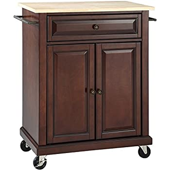 Crosley Furniture Natural Wood Top Kitchen Cart Island Vintage Mahogany