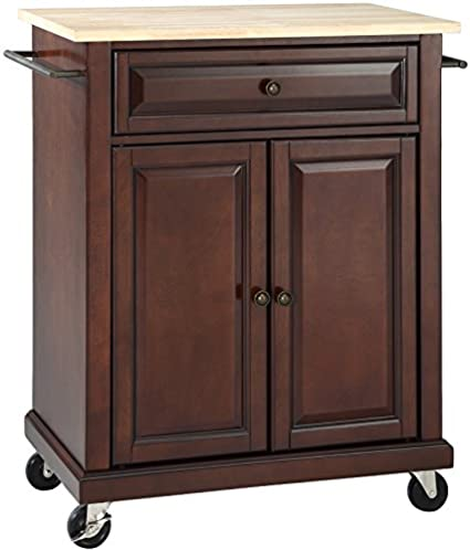 Crosley Furniture Cuisine Kitchen Island With Natural Wood Top   Vintage  Mahogany