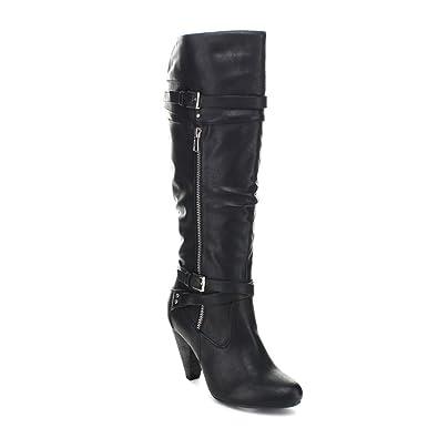 38856824d57b Wild Diva Merton-29 Women s Slouchy Belt Knee High Riding Boot Black ...