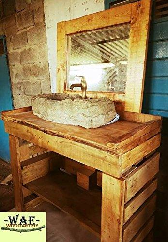 wood art ely MOBILE BAGNO E SPECCHIERA IN LEGNO MASSELLO,DIMENSIONI ...
