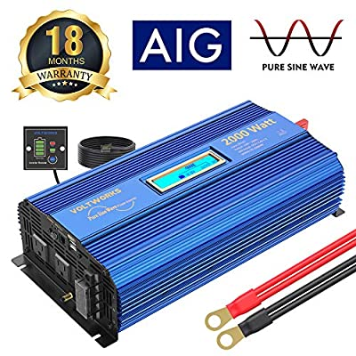 2000Watt Pure Sine Wave Power Inverter 12V DC to 120V AC with 2 AC Outlets Dual 2.4A USB Ports Remote Control & LCD Display by VOLTWORKS: Car Electronics