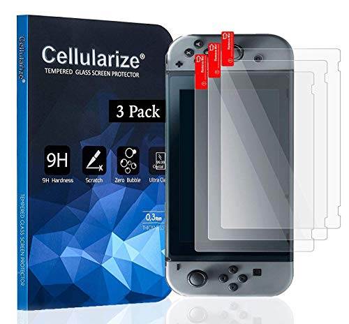 [3 Pack] Cellularize Tempered Glass Screen Protector for Nintendo Switch [Lifetime Replacement Warranty] [Anti-Scratch] [Bubble-Free]
