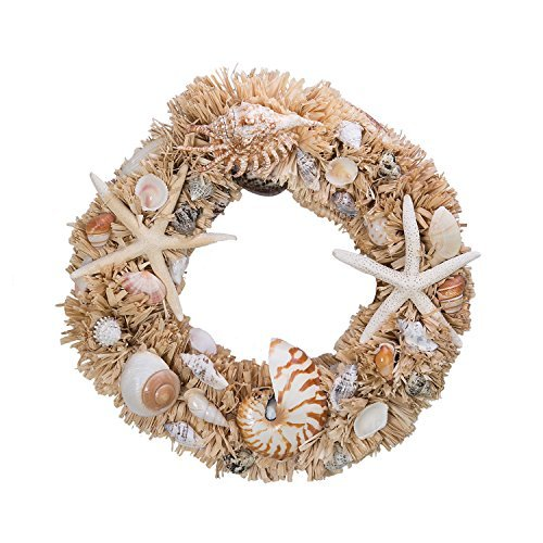 starfish and nautilus seashell wreath - Beach Christmas Wreath