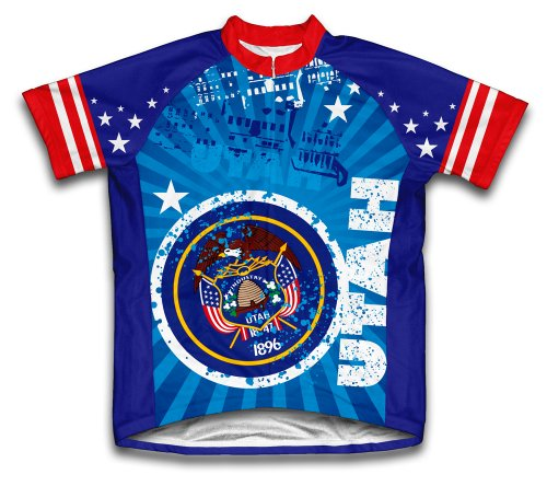 (ScudoPro Utah Short Sleeve Cycling Jersey for Men - Size XL Blue )