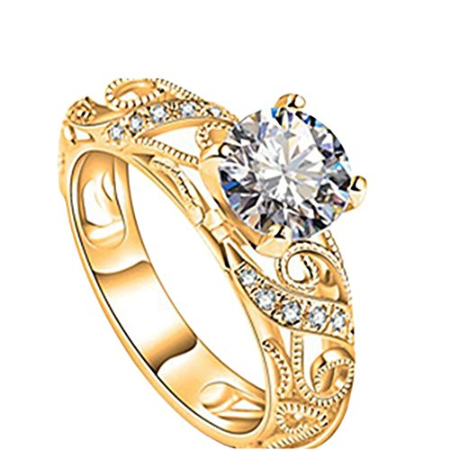 Balakie Elegant Cut Wedding Ring Gift Luxurious Micro Inlaid Ring Diamond Ring Four Claw (Gold, 8)