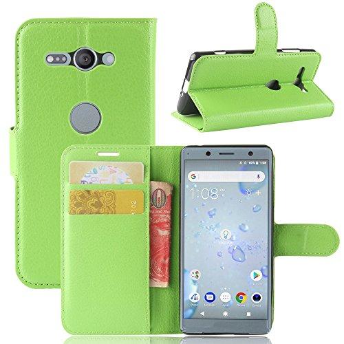 Sony Xperia XZ2 Compact Funda, Funda de Cuero Pu Book Flip con Función de Soporte y Ranura de Tarjeta de Crédito para Sony Xperia XZ2 Compact Smartphone verde