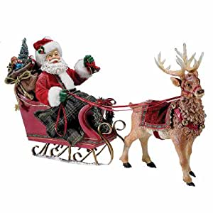 Amazon Com Kurt Adler Fabrich 233 10 Inch Santa In Sleigh