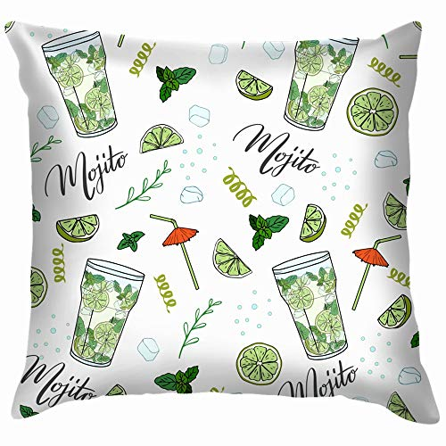 Cocktail Mojito Hand Drawn Funny Square Throw Pillow Cases Cushion Cover for Bedroom Living Room Decorative 22X22 Inch]()