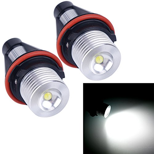 VANJING 2PCS 5W LED Angel Eyes Halo Ring Marker Light Bulb for BMW 5 6 7 Series X3 X5 (Fit E39 E53 E60 E63 E64 E65 E66 E83) (5W, White)