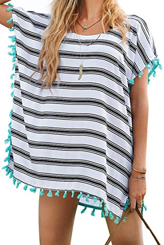 Bess Bridal Women's Cover-Ups Stripes Pompom Trim Chiffon Tunic Bikini Beachwear (One Size)