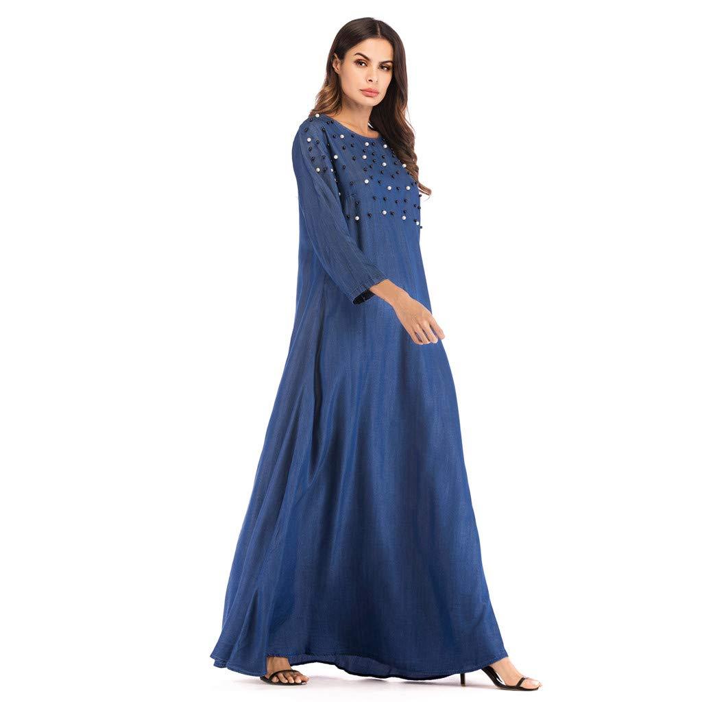 e71c6f92e3e71 Amazon.com: Women Muslim Dress Dubai Kaftan Women Long Sleeve Arabic ...