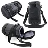 DURAGADGET High Quality Black Protective Water-Resistant Lens Carry Bag for New Tokina AT-X 11-20mm f/2.8 PRO DX Lens & AT-X 24-70mm f/2.8 PRO FX Lens for Nikon - With Detachable Shoulder Strap