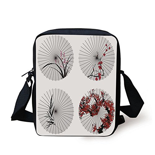 IPrint Apartment Decor,Group of Ethnic Parasol with Swirled Floral Lines and Bamboo Leaves Print,Red White Print Kids Crossbody Messenger Bag Purse