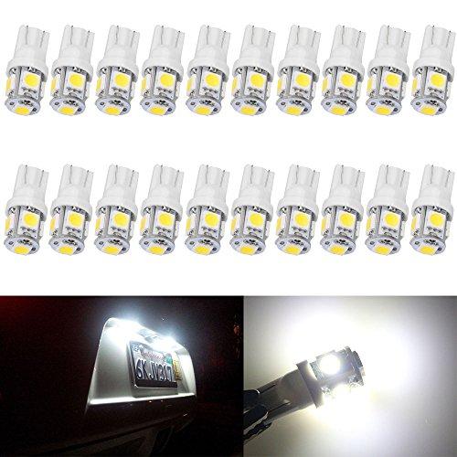 20-Pack T10 194 168 2825 W5W 175 158 5050 5 SMD LED Ampoule 24V Blanc, éclairage Intérieur de Voiture Pour Ampoule Tableau de Bord,Plaque Remorque,Ampoule Led Plafonnier