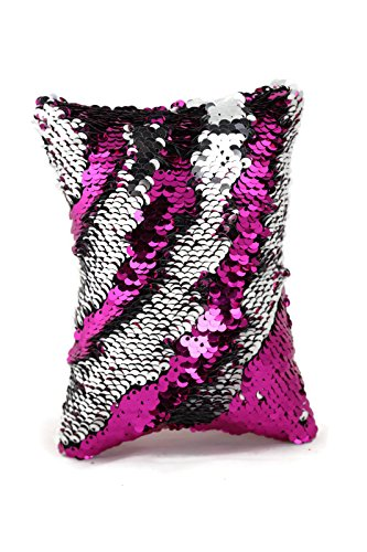 Little Monkey Fashion The Original Magic Flip Sequin Fidget Pillow | Toy for Relaxing Therapy Increase Focus for Adults and Children | Helps with stress ADHD ADD Autism | Pink and Silver Rectangle - 2