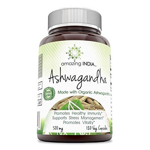 Amazing India Ashwagandha 500 Mg 120 Veg Capsules * Promotes healthy Immunity Supports Stress Management and Promotes Vitality * 51UEVMe7wzL