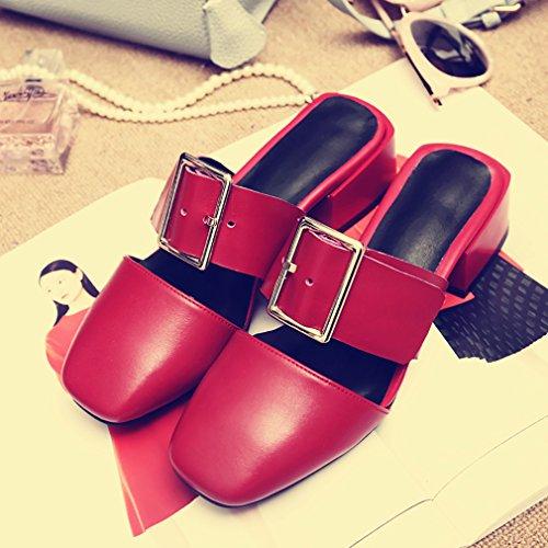 Cafresh Glisser Mules sabots 4CM Sur Chaussures Rouge Femme et Bloc Calaier f5Wq86IY1w