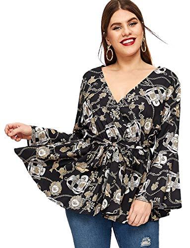Romwe Women's Plus Size Floral Print Long Sleeve Belt Tie Peplum Wrap Blouse Top Shirts Multicolor 4XL ()