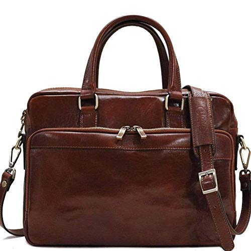 Floto Avelo Laptop Bag, Leather Computer Briefcase in Brown